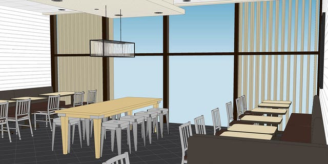 All floors will feature floor-to-ceiling windows. A single window will also span the second and third floors.