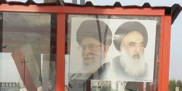 Christian locals say this checkpoint, up until just weeks ago, had a picture of the Virgin Mary, but it was replaced with images of the Iranian Supreme Leaders.