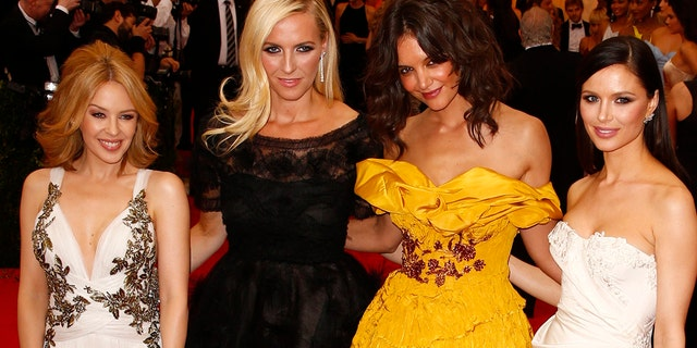 """Georgina Chapman said she """"loved my life"""" when married to Weinstein. She's pictured here (from l-r) with singer Kylie Minogue, her Marchesa co-founder Keren Craig and actress Katie Holmes at the 2014 Met Gala."""