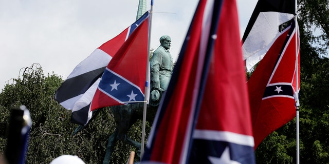 White nationalists rally around a statue of Robert E. Lee in Charlottesville.
