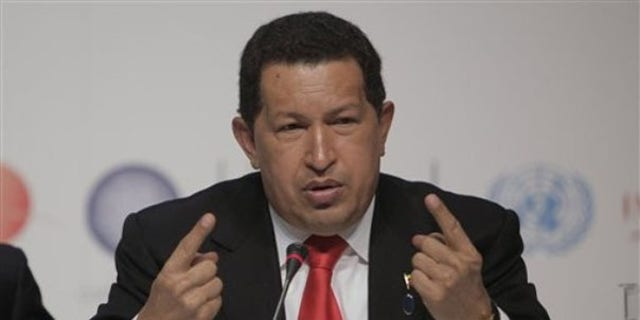 Dec. 18: Venezuela's President Hugo Chavez reacts during a press conference at the U.N. Climate Conference in Copenhagen. (AP Photo)