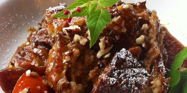 Chocolate black cherry bread pudding with a craft beer clementine salted caramel sauce. A Watson-inspired dish by app user Wendy Hite. Photo Credit: Wendy Hite
