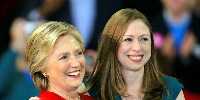 Chelsea Clinton is seen with her mother, Hillary Clinton, at a campaign rally in Raleigh, North Carolina, November 8, 2016.