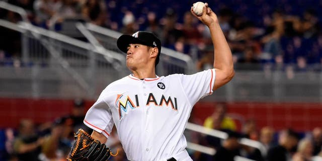 May 1, 2017; Miami, FL, USA; Miami Marlins starting pitcher Wei-Yin Chen (54) delivers a pitch during the first inning against the Tampa Bay Rays at Marlins Park. Mandatory Credit: Steve Mitchell-USA TODAY Sports