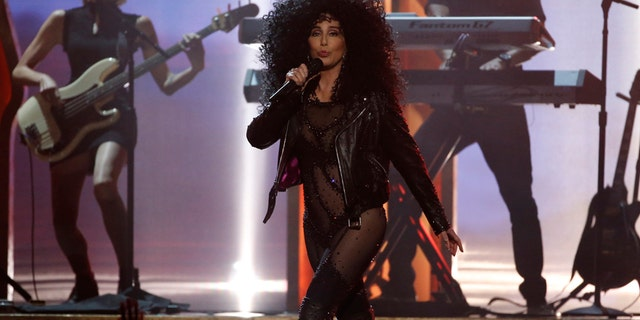 """Cher performs """"If I could Turn Back Time"""" at the 2017 Billboard Music Awards in Las Vegas, Nevada, May 21, 2017."""