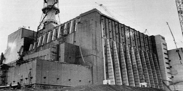 Chernobyl nuclear power plant reactor no.  4 is visible in this 1986  December 2  In the photo in the file, after the work is completed, so that it can be installed in concrete after the explosion in the factory.