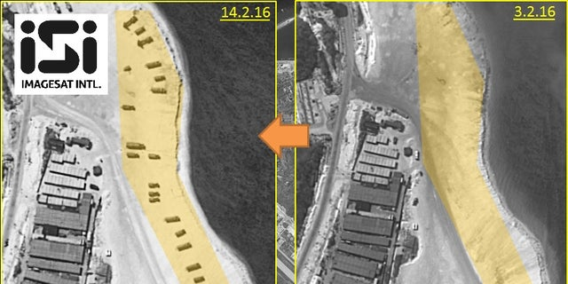 Images of the Woody Island beach on Feb. 14 (left) and Feb. 3.