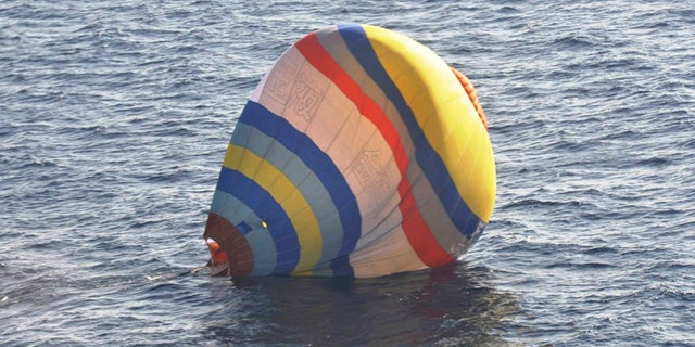 Jan. 1, 2013: A hot-air balloon in which the Coast Guard says a  Chinese cook took a ride, in waters near the East China Sea islands called Senkaku by Japan and Diaoyu by China.