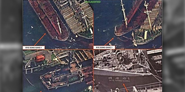 U.S. spy satellites have captured images of what appears to be Chinese ships illegally selling oil to North Korean boats.