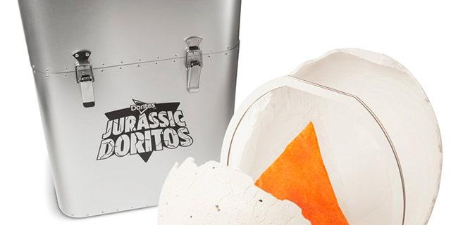 """The Jurassic Doritos come inside a """"dinosaur egg"""" stored in a Jurassic prop-replica crate."""