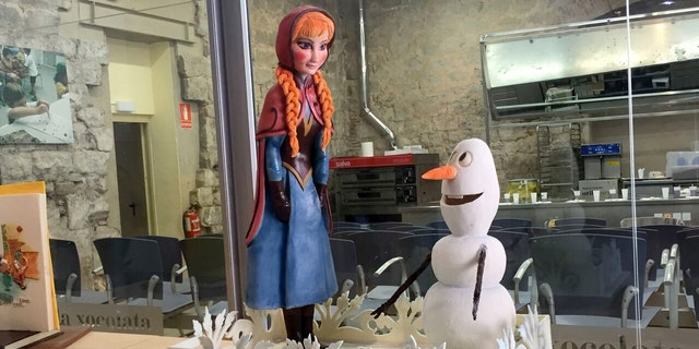 "Characters from the Disney movie ""Frozen"" on display."