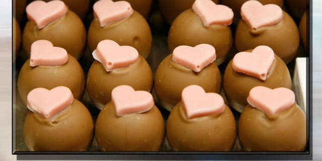 Chocolates being prepared for Valentine's Day.