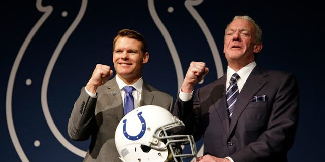 Colts Owner Jim Irsay, right, and new general manager Chris Ballard pose following a news conference at the NFL team's practice facility in Indianapolis, Monday, Jan. 30, 2017. (AP Photo/Michael Conroy)