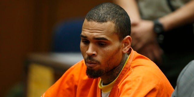 R&B singer Chris Brown, who pleaded guilty to assaulting his girlfriend Rihanna, appears in court for allegedly violating his probation, in Los Angeles, California, March 17, 2014. Brown on Monday was ordered by a Los Angeles judge to remain in jail at least until his April 23 probation violation hearing, related to his 2009 assault of his then-girlfriend, the singer Rihanna. REUTERS/Lucy Nicholson (UNITED STATES - Tags: CRIME LAW ENTERTAINMENT) - RTR3HHUB