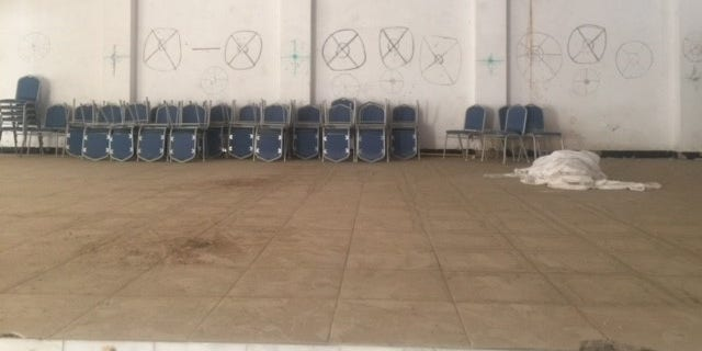 A church hall in the Christian village of Barzani, outside of Mosul, used by ISIS as target practice