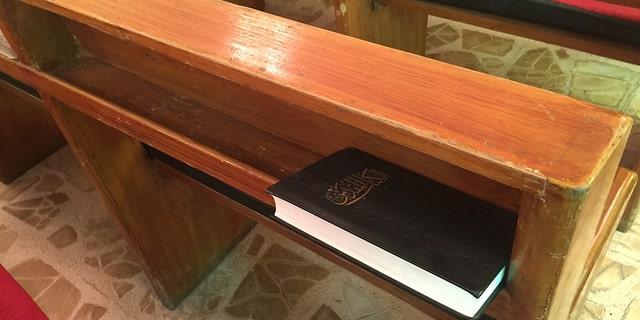 A prayer book at Alliance Evangelical Church in Baghdad