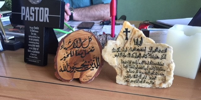 The Rev. Francis Joseph's desk in his office at Alliance Evangelical Church in Baghdad.