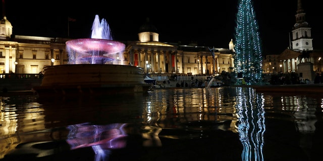 The Trafalgar Square Christmas tree, a gift from Norway, is lit during a ceremony attended by the Mayor of Oslo, Marianne Borgen and Lord Mayor of Westminster Ian Adams, in London, Britain, December 7, 2017.