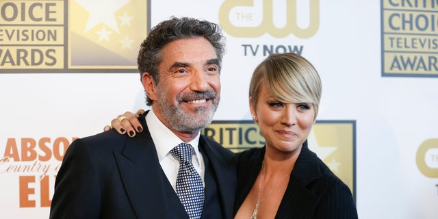 Producer and writer Chuck Lorre and actress Kaley Cuoco pose at the 4th annual Critics' Choice Television Awards in Beverly Hills, Calif. June 19, 2014.