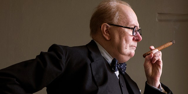 "This image released by Focus Features shows Gary Oldman as Winston Churchill in a scene from ""Darkest Hour."""