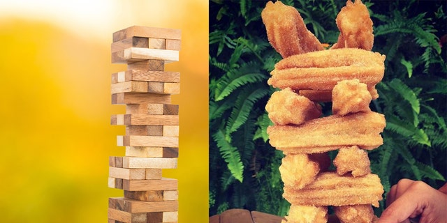 """Today, full-grown adults are embracing playing with food, thanks to a trend that they're calling """"Food Jenga."""""""
