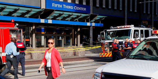The scene outside the Fifth Third Bank building in downtown Cincinnati Thursday morning.