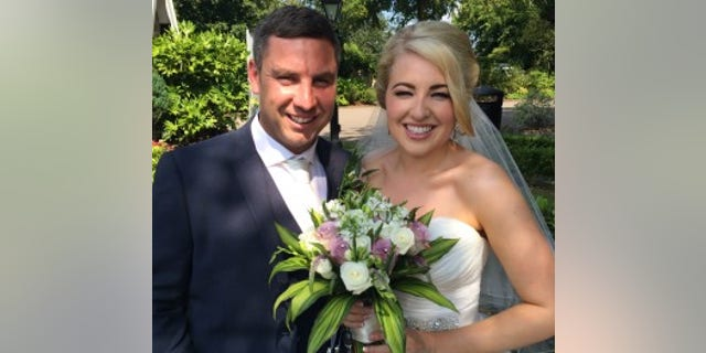 Clare and Paul Daly on their wedding day in July 2014.
