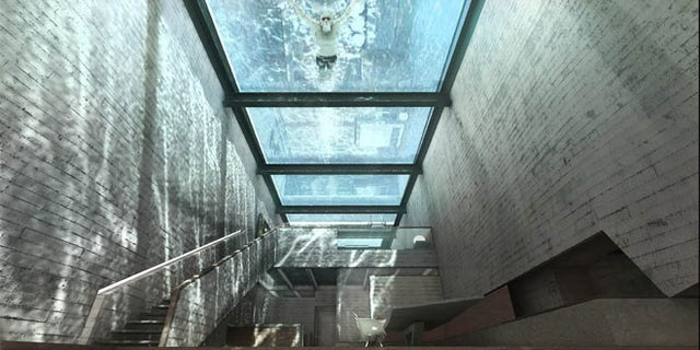 The glass roof has a pool on top that helps cool the house.