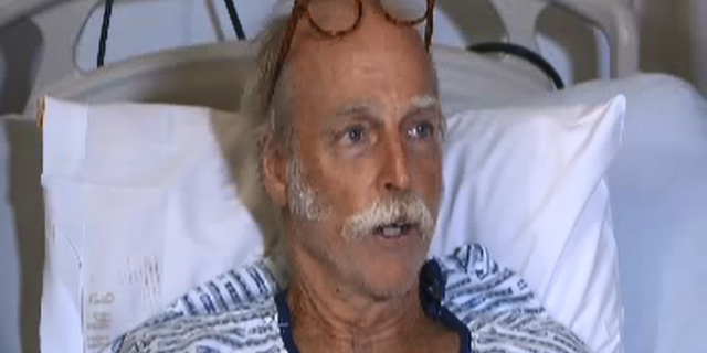 Darryl Clinton said the lava bomb hit him in the shin and snapped his leg in half.