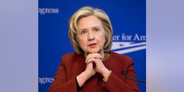 File- This file photo of March 23, 2015, shows former Secretary of State Hillary Rodham Clinton speaking at an event hosted by the Center for American Progress (CAP) and the America Federation of State, County and Municipal Employees in Washington. (AP Photo/Pablo Martinez Monsivais)