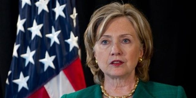 Monday: Secretary of State Hillary Clinton speaks about the situation on the Korean peninsula during a press conference in Beijing, China. (AP Photo)