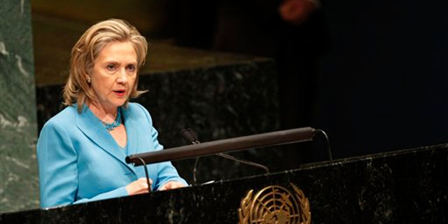 Secretary of State Hillary Clinton addresses the United Nations General Assembly Aug. 19 at United Nations headquarters. (AP Photo)