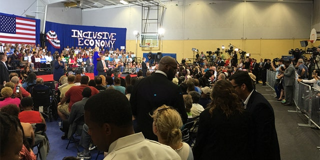 Sept. 21, 2016: Hillary Clinton talks to supporters in Orlando, Fla.