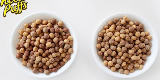 The new Reese's Puffs (right), are now slightly less dark without the use of artificial colors.