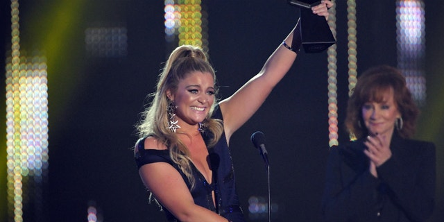 Lauren Alaina accepts the award for breakthrough video of the year at the CMT Awards in Nashville, Tennessee on June 7, 2017.