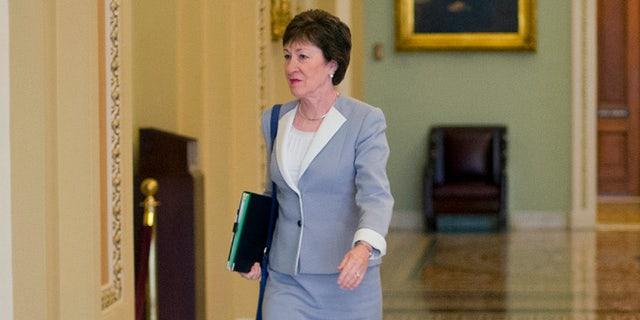 Sept. 8, 2015: Sen. Susan Collins, R-Maine, walks to the Senate floor at the Capitol in Washington. (AP)