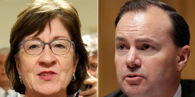 Republican Sens. Susan Collins, left, and Mike Lee, right, flipped from 'no' to 'yes' votes on the GOP tax plan on Monday.