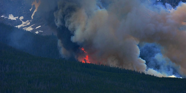 Flames rise above the trees as a wildfire burns near Breckenridge, Colo., on Wednesday, July 5, 2017. The fire was reported midday Wednesday and is burning in the White River National Forest. (Jack Queen/Summit Daily News via AP)