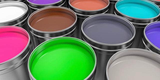 3D Metallic Pots of Paint Render Background.