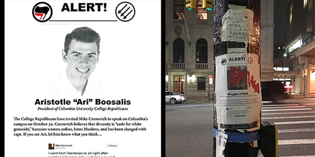 Flyers identifying the board members of Columbia University College Republicans were posted around campus and online ahead of an event by political blogger Michael Cernovich.