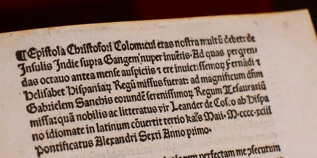 A detail of a page of an authentic 15th Century copy of a letter written by Christopher Columbus as displayed at the Vatican, Thursday, June 14, 2018. The United States is returning to the Vatican Library a letter written by Christopher Columbus in 1493 announcing his discovery of the New World that was stolen and replaced with a forgery. (Tony Gentile/Pool Photo via AP)