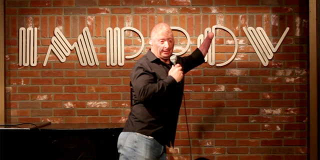 Wounded veteran Bobby Henline performs stand-up comedy.