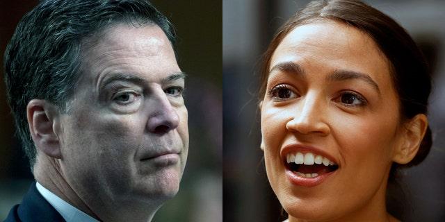 Former FBI Director James Comey, left, and Democratic congressional candidate Alexandria Ocasio-Cortez.