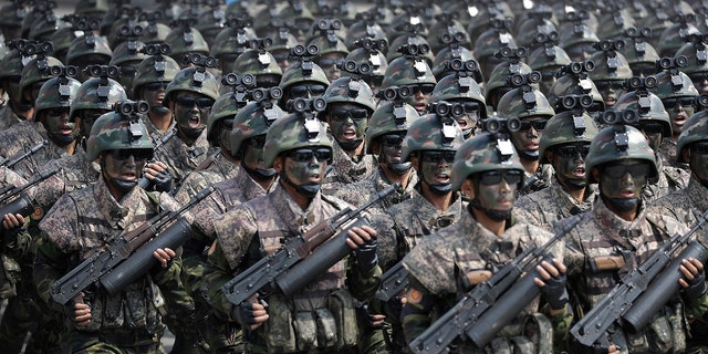 Commandos, shown here at Kim II Sung Square during a military parade on April 15, don't have state-of-the-art equipment, according to experts.
