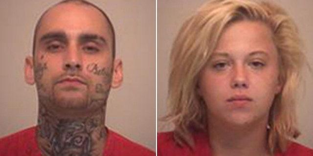 Mug shots of accused bank robbers John Mogan and Ashley Duboe. (Pickaway County Sheriff's Office)