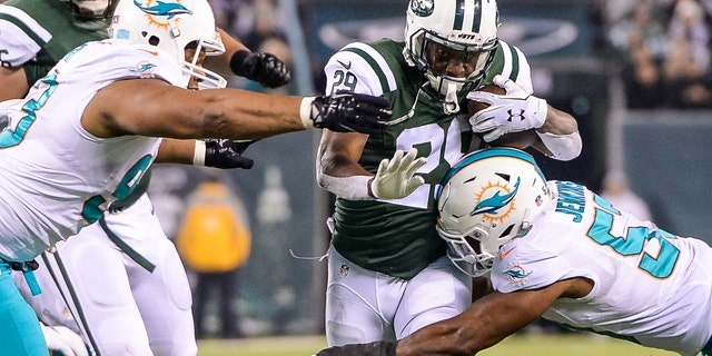 Dec 17, 2016; East Rutherford, NJ, USA; New York Jets running back Bilal Powell (29) is tackled by Miami Dolphins outside linebacker Jelani Jenkins (53) at MetLife Stadium. Mandatory Credit: Dennis Schneidler-USA TODAY Sports - RTX2VHTA