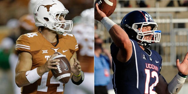 Texas' David Ash (14) looks to throw against North Texas, left, and Connecticut quarterback Casey Cochran (12) warms up before his team's NCAA football game against BYU, right.