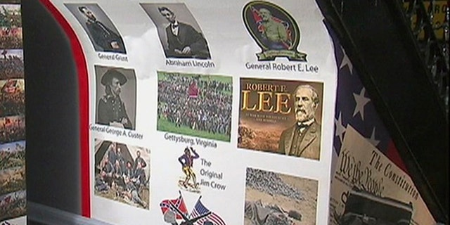 Poster inside NYC building shows Confederate generals.