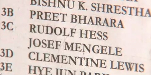 Names on NYC building's directory include Nazi's Josef Mengele and Rudolf Hess.