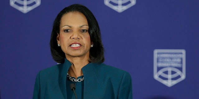 Former U.S. Secretary of State Condoleezza Rice speaking during a news conference at the NCAA headquarters on April 25, in Indianapolis.